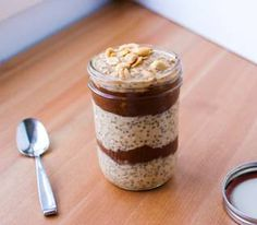 Peanut Butter and Chocolate Overnight Oats Parfait.I think the most intriguing part is the sweet potato chocolate pudding, which she gives the link for in the recipe. I think I'd stick with regular peanut butter or almond butter. Strawberry Overnight Oats, Chocolate Overnight Oats, Peanut Butter Overnight Oats, Overnight Oatmeal, Healthy Peanut Butter, Peanut Butter Recipes, Chocolate Peanut Butter, Chocolate Pudding, Oatmeal Recipes