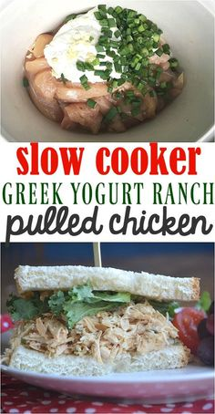 Slow Cooker Greek Yogurt Ranch Pulled Chicken -make the best of everything