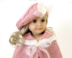Pink Hat and Cape for American Girl doll Julle at http://www.etsy.com/listing/172412068/2-pc-winter-accessories-for-american