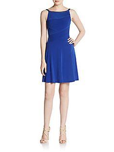 CALVIN KLEIN Jeweled Boatneck Pleat Dress. #calvinklein #cloth #dress