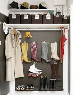 A great solution for small spaces, removing the closet door from your entryway coat closet creates the illusion of more - Home and Garden Design Ideas