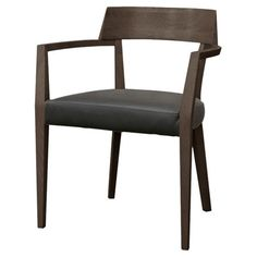 Bring midcentury-inspired style to your dining room or office with this handsome arm chair, crafted from wood and showcasing a faux leather seat.