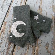 Felted Wool Fingerless Gloves in Earthy Green with Moon and Stars
