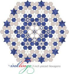Inklingo Setting for Pieced Hexagons Hexagon Patchwork, Hexagon Quilt, Patchwork Patterns, Quilt Block Patterns, Quilt Blocks, English Paper Piecing, Quilting Projects, Quilting Designs, Millefiori Quilts