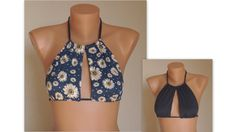 Reversible navy blue floral and navy blue cut out high neck halter bikini top-Bathing suit-Yoga top-Open neck top-Plus size-Bikini top
