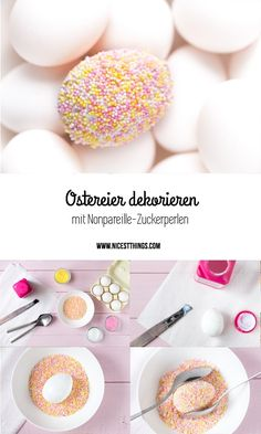 Decorate Easter eggs with nonpareille sugar pearls & yeast esters - Easter Candy, Easter Eggs, Easter Crafts, Holiday Crafts, Cake With Cream Cheese, Easter Cookies, Egg Decorating, Fun Desserts, Delicious Desserts