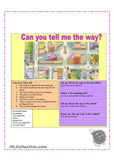 A collection of English ESL Giving Directions worksheets for home learning, online practice, distance learning and English classes to teach about English Talk, English Fun, English Lessons, Learn English, English Grammar Worksheets, Grammar And Vocabulary, English Vocabulary, Teaching Social Studies, Teaching Jobs