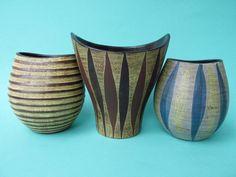 Vintage Vasen im Set aus 3 Dümler und Breiden, Ritzdekor, Studiokeramik Rillendekor / Dekor Terra / Kunstkeramik / 60er Jahre / WGP von ShabbRockRepublic auf Etsy