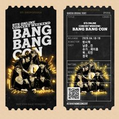 #BANGBANGCON ticket - Twitter Search / Twitter Bts Home Party, Bts Tickets, Kpop Diy, Bts Polaroid, Bts Aesthetic Pictures, Bts Merch, Bts Chibi, Aesthetic Stickers, Bts Lockscreen