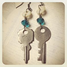 Enough creative play finally led to these. I'm smitten. #earrings #key #keys #buttons #motherofpearl #mopbuttons #vintage #upcycled #repurposed #jewelry #jewelrymaking