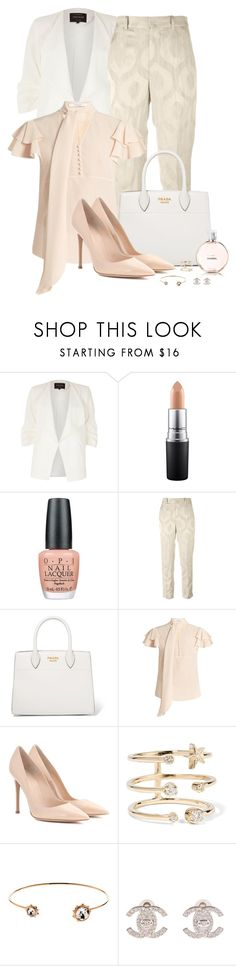 """""""Spring/Summer Workwear"""" by spells-and-skulls ❤ liked on Polyvore featuring River Island, MAC Cosmetics, OPI, Isabel Marant, Prada, Givenchy, Gianvito Rossi, Andrea Fohrman, Cachet and Chanel"""