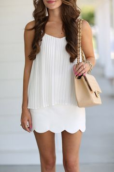 / all white + pleated top style roupas, saias Anna Wintour, Spring Summer Fashion, Spring Outfits, Outfits 2016, Southern Curls And Pearls, Fashion Vestidos, Passion For Fashion, Dress To Impress, Preppy
