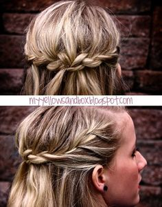 French braid on each side of the head normally until you reach a little behind the ear. Then only add pieces from the top. Pin each braid in the middle. Criss Cross your pins