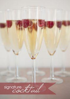 Signature Drink Recipe // Raspberry Sparkler // champagne + chambord + fresh berries // #weddingcocktail