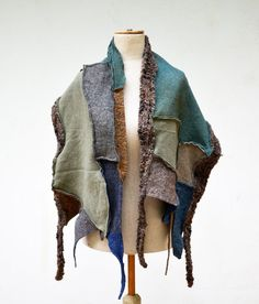 fancy felt and knit patchwork shawl, wearable art blue grey beige, tan, cappuccino asymmetrical unique OOAK, soft felted wool, geometrical