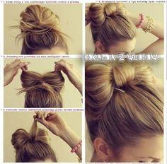 The idea for the bow hair ..! : D #hairstyle #hair #diy #bow #topknot