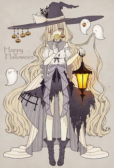 Anime, manga, and video game fan-art artworks from Pixiv (ピクシブ) — a Japanese online community for artists. pixiv - It's fun drawing! Anime Halloween, Halloween Tattoo, Happy Halloween, Halloween Art, Halloween Witches, Halloween 2019, Halloween Outfits, Anime Chibi, Kawaii Anime