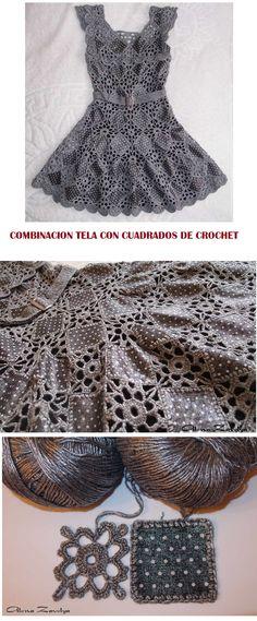 Patrones Crochet: Combinacion Tela con Crochet