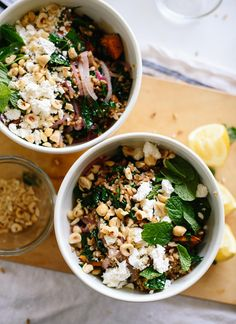 Mediterranean sweet potato farro salad, perfect for weeknight dinners! This recipe is brought to you by @blueapron! cookieandkate.com