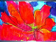 Georgia O'Keefe flowers - have kids draw silk flowers (looking at them and drawing what they actually see + going off the page - have them use asymmetrical balance); trace over pencil with a sharpie; use tissue paper w/ diluted white glue to color flowers; once dried, add value and color accents with chalk pastels.