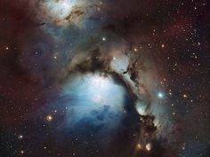 This new image of the reflection nebula Messier 78 was captured using the Wide Field Imager camera on the MPG/ESO 2.2-metre telescope at the La Silla Observatory, Chile. This colour picture was created from many monochrome exposures taken through blue, yellow/green and red filters, supplemented by exposures through a filter that isolates light from glowing hydrogen gas. The total exposure times were 9, 9, 17.5 and 15.5 minutes per filter, respectively.