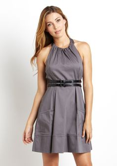 JESSICA SIMPSON Circle Neck Belted Dress