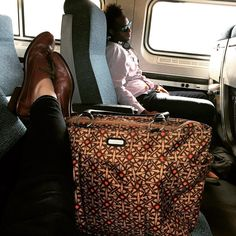 """This travel day is brought to you by @Amtrak the Lako in """"luggage"""" brown by @naotfootwear and @baggallini. NYC or bust! #shoes #travel #luggage #travelgear #train #amtrak #instashoes #instatravel #style #fashion #shopping #newyork #boston #brookline #morning"""