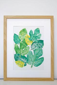 Grabado experimental de hojas. Lámina hojas naturales por Etsy MariaPascualArt Experimental, Natural, Leaves, Map, Illustration, Plants, Pattern, Gifts, Painting
