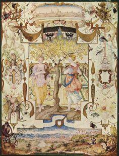 Georg Hoefnagel.  Garten mit zwei Nymphen. 1579, Pergament, 24 × 18 cm. Berlin, Kupferstichkabinett. Buchmalerei. Niederlande (Flandern). Renaissance.  KO 03016