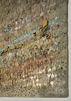 """detail of """"keyscape"""" by jo braun - made of keys, glass, stone, and porcelain"""