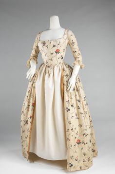 1785-1795, America - Robe à l'Anglaise - Cotton, baleen