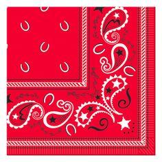 Red Bandana Beverage Napkins (16)  www.birthdaydirect.com