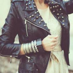 d5e19e898ea7b Studded leather jacket Lace Dress, Leather And Lace, Studded Leather Jacket,  Black Leather