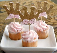 these cute even if you just did all cupcakes and then a pink and gold one for her to smash.. put these little crowns in every other cupcake.. not even all of them just for decor...
