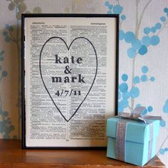 Personalized Wedding Gift Heart Names And Date On Vintage Book Page 25 75 Via
