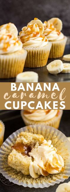 Banana Caramel Cupcakes – Deliciously moist and fluffy banana cupcakes, filled … Banana Caramel Cupcakes – Deliciously moist and fluffy banana cupcakes, filled with homemade banana caramel, and topped with a sweet banana caramel frosting! Just Desserts, Delicious Desserts, Yummy Food, Cake Cookies, Cupcake Cakes, Cupcake Icing, Cupcake Toppings, Cupcake Filling Recipes, Homemade Cupcake Recipes