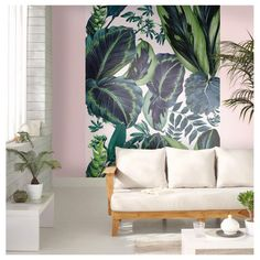 The Pink Jungle Wallpaper by Caselio Painting Wallpaper, Wall Wallpaper, Pink Jungle Wallpaper, Wall Design, House Design, Design Studio, Cool Walls, Decoration, Wall Murals