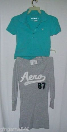 Aeropostale Tops Size Small Petite Shirts Lot of 2 Polo Gray Aeor New York 87