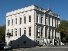Charleston City Hall at the corner of Meeting and Broad Streets in historic downtown Charleston, SC