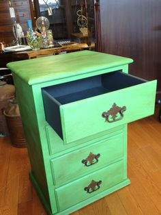 Junktique Recycling Norwalk, CT Chalk Paint® by Annie Sloan Antibes Green and Graphite
