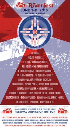 Riverfest Poster Meat Puppets, Brothers Osborne, William Clark, Indian Symbols, First Prize, Big Fish, Kansas, Flag, Poster