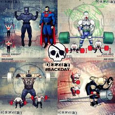 back exercises: justice league pull ups, joker sumo deadlifts, bane snatch grip high pulls, bane landmine bent over rows