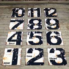Vintage Styled Number Tin Signs eclectic artwork