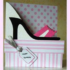 shoe card. I love the cut-out. This site has templates for designs to hand cut.