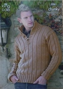 Sweater, Gilet, Scarf and Hat in King Cole Merino Blend Chunky - 3261 - Men - For - Patterns Chunky Knitting Patterns, Knit Patterns, Chunky Yarn, Men Sweater, Jumper, Needlework, Knit Crochet, Sewing, Trending Outfits