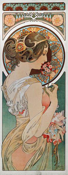 bnrfireandtrees: jean-goulet: Alphonse Mucha - La Primevere (1899) (Art Nouveau) [•‡•] My Fav with Dali (via TumbleOn)