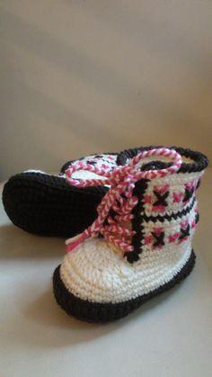 Topánočky - Háčkované čižmičky - šnurovacie hnedé - 3065385