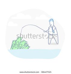 Flat line illustration concept of business success, fishing for money. Cute cartoon Businessman catching money with fishing rod from water. Isolated vector.