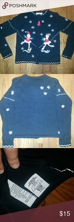 Ice skater Girls size 16 christmas Sweater New never been worn Size 16 girls ice skater Christmas sweater with a full front zipper with an ice skate ziper pull beautiful beaded snowflakes. Super cute! Sweaters Cardigans