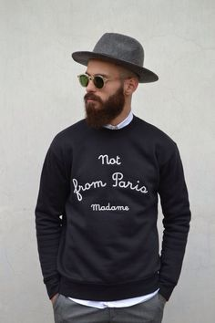 """Not from paris madame."" File under: Panama hats, Sweaters, Layers, Sunglasses"